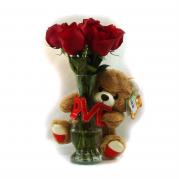 buque com 7 rosas e ursos de pelucia - entregamos em toda BH