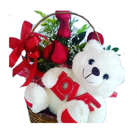Cesta de rosas vermelhas com urso de pelúcia
